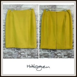 Halogen Yellow Stretch Pencil Career Skirt